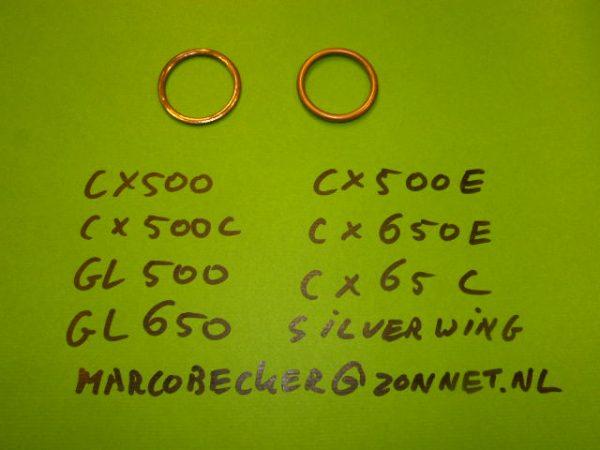 Uitlaat ring imitatie cilinderkop, koper ring