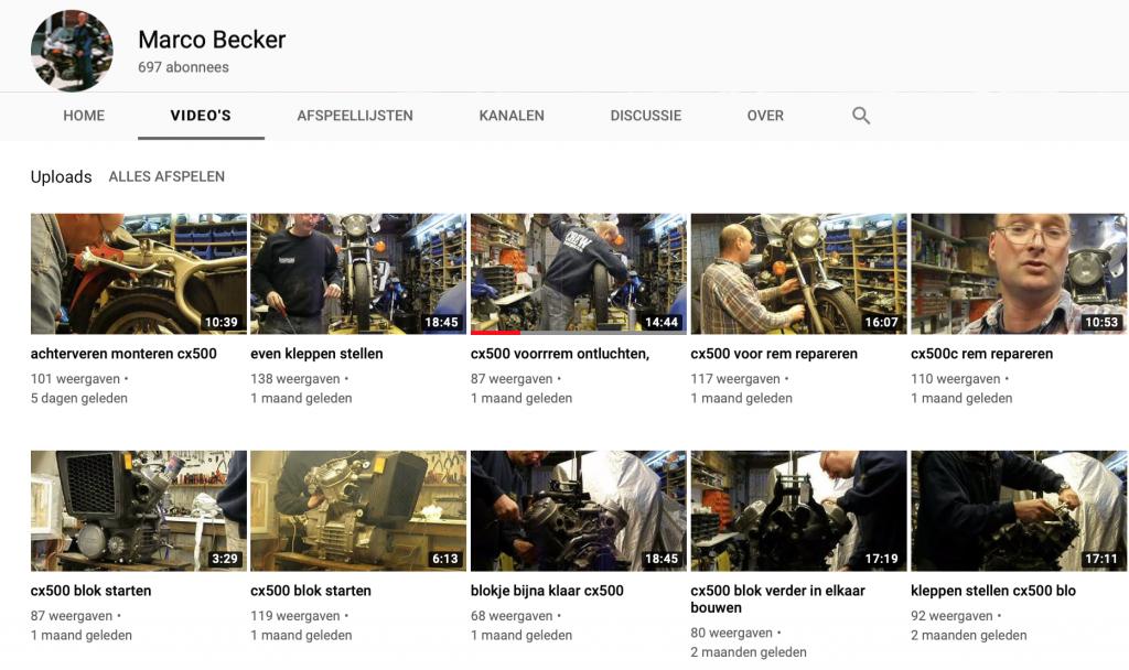 De youtube pagina van marco