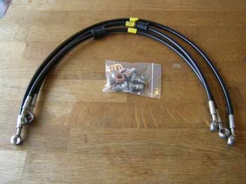 Staal flex leidingen voor CX500c custom hoog stuur model zwart hel
