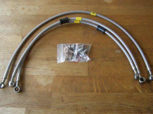 Staal flex leidingen voor CX500c custom hoog stuur model.